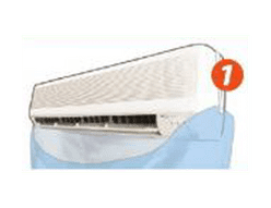 1. Turn off air-conditioner, fit NORCA bag securely around it